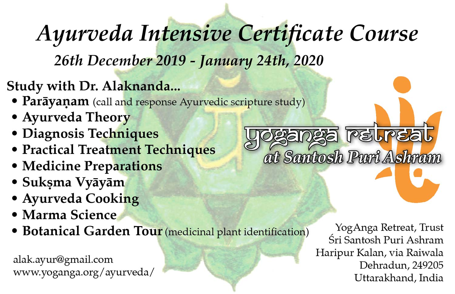 One Month Ayurveda Intensive Certificate Course | YogAnga Retreat